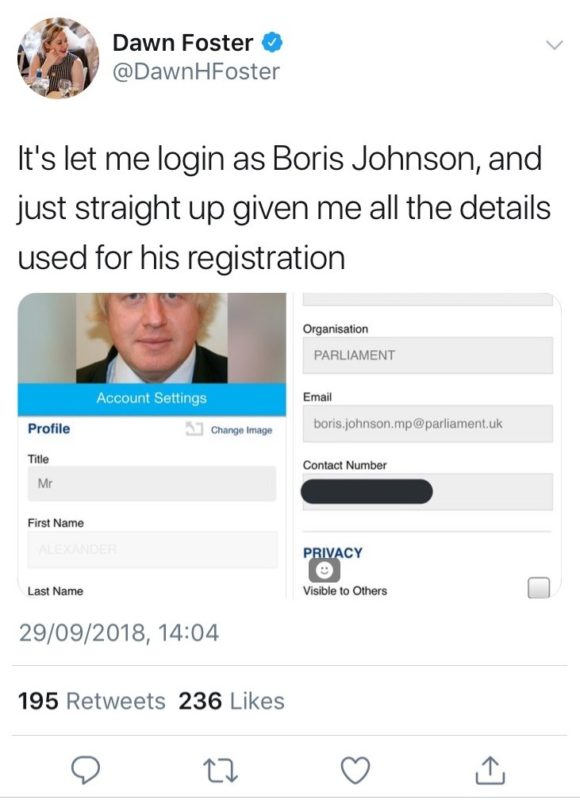 Boris Johnson data details